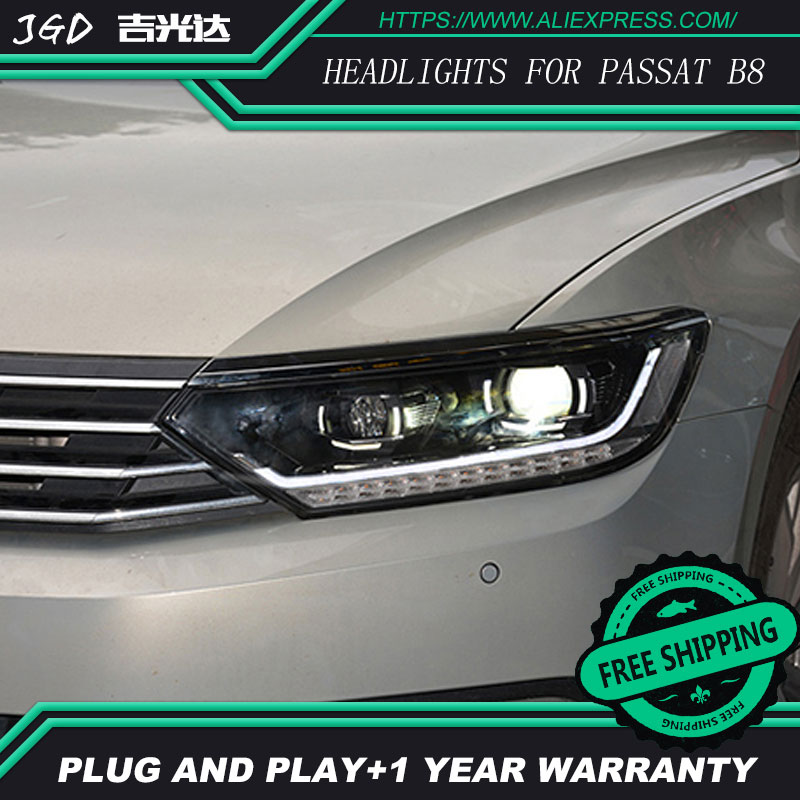 Car Styling Head Lamp for VW Passat B8 2016 2017 Headlights Passat B8 LED Headlight DRL H7 D2H Hid Bi Xenon Beam free shipping for vland car styling head lamp for vw golf 7 headlights led drl led signal h7 d2h xenon beam