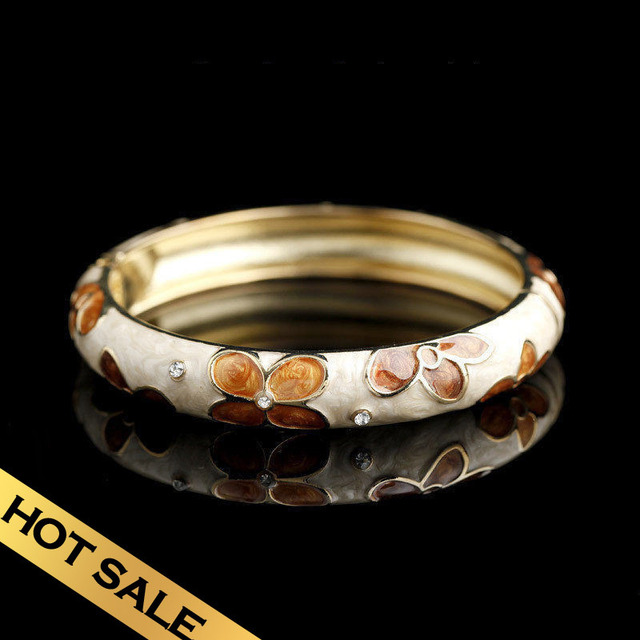 Special Bracelets & Bangles Handmade Enamel Synthetic Diamond Snow Classic Vintage FlowersDesign Free Shipping Jewelry SZG04D07A