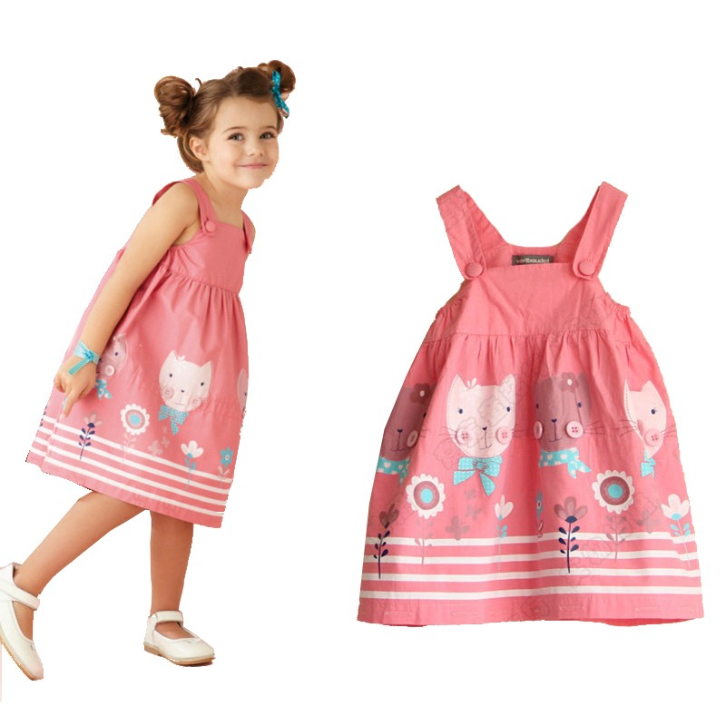2015-Summer-Brand-Kids-Clothes-Casual-Girls-Dresses-Cute-Cat-Baby-Girls-Cotton-Dress-Princess-Dress