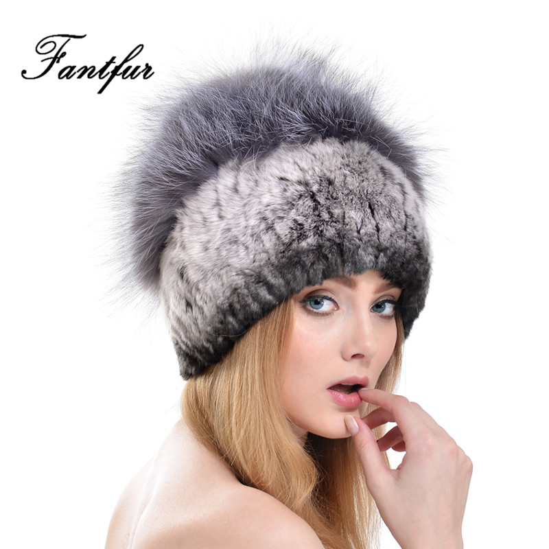 FANTFUR Women Genuine Rex Rabbit Fur Hat With Real Fox Fur Pom Poms Beanies Elastic Beanies Winter Warm Thick Knitted Fur Cap 2017 winter fur hat female rex rabbit fur hat with fox fur pom poms fur knitted beanies fashion high quality caps for women hats