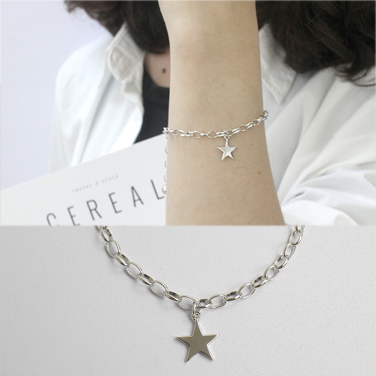 100 925 Sterling Silver Bracelet For Women 2019 Fashion Star Pendant Bracelets Chain Bracelet Bangle 925 Silver Jewelry Gifts in Chain Link Bracelets from Jewelry Accessories