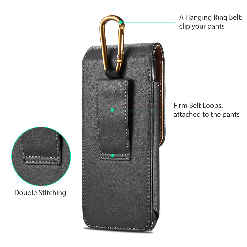 Universal Pouch Leather phone Case For iphone XS X 7 8 plus Waist Bag Magnetic holster Belt Clip phone cover for redmi 5 plus  (11)