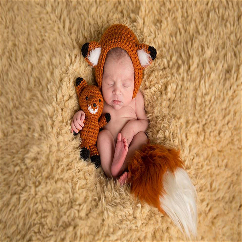Newborn Baby Girl Boy Crochet Knit Hooded Romper Photo Photography Prop Outfit