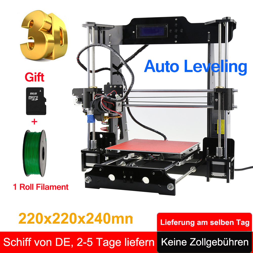 Hot Sale Upgraded 3D Printer DIY kit Extruder MK3 heatbed 3D Printing PLA ABS support Auto leveling +8GB SD Card 1 Roll Filament pla fluo bu 1 75 1 0 fluorescent series 1 75mm abs filament 3d printing cable blue 350m