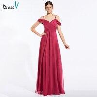 Dressv Red Long Bridesmaid Dress Spaghetti Straps Sleeveless A Line Pick Ups Elegant Custom Wedding Party