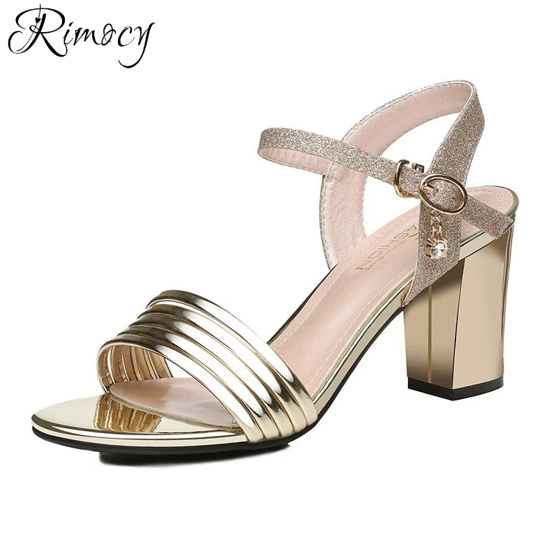 Rimocy gold silver glitter ankle strap sandals women fashion thick high heels open toe casual summer shoes woman elegant pumps woman sandals 2018 summer women concise bling open toe casual shoes woman fashion thick bottom wedges sandals