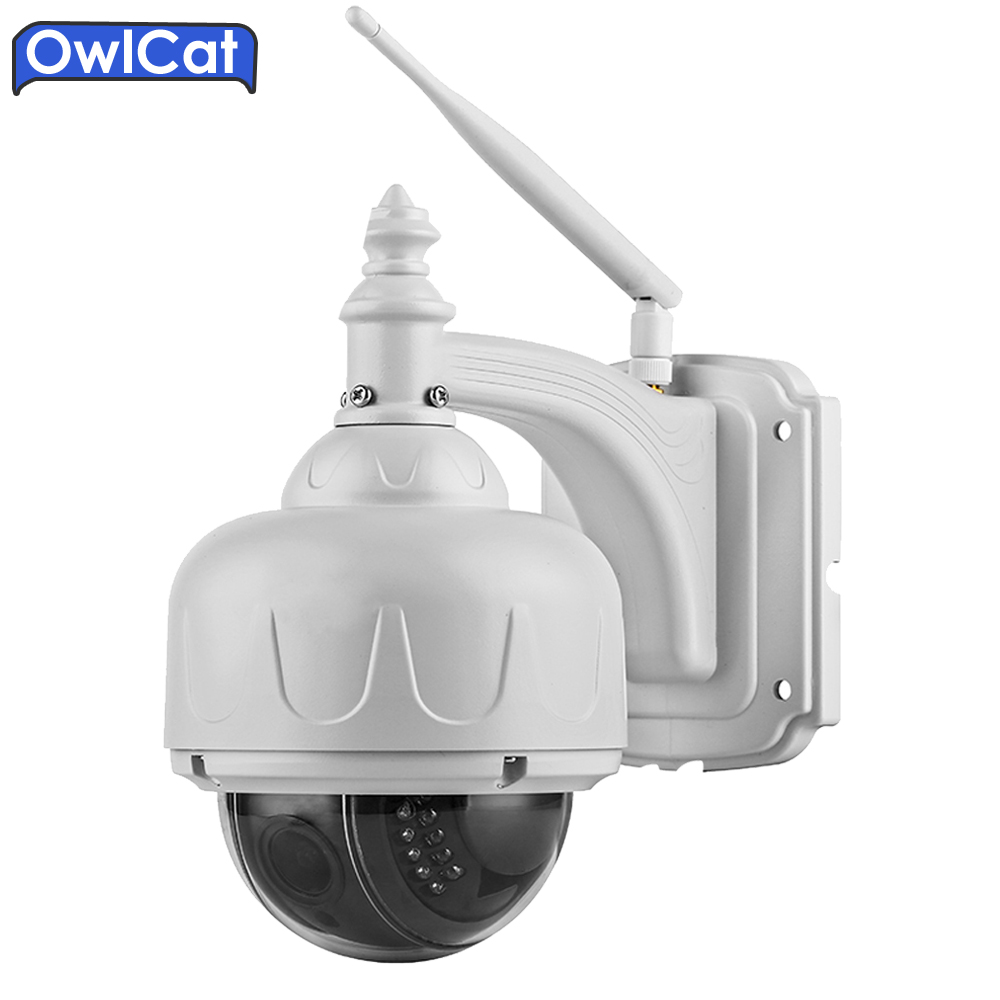 OwlCat HD 720P Wireless Outdoor CCTV Speed Dome WIFI Security PTZ IP Camera 4X Auto Focus Zoom Lens TF Card Motion detection owlcat 1080p full hd 2mp surveillance network indoor dome cctv camera onvif security ip camera 3x zoomed auto focus lens 2 8 8mm