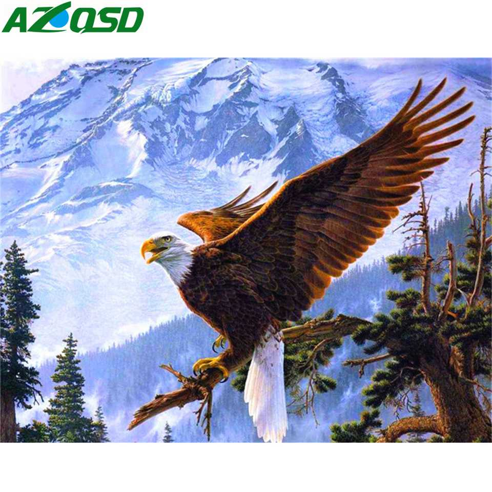 AZQSD Diamond Embroidery Eagle Animal Diy Needlework Painting Full Square Home Decoration Picture Of Rhinestones