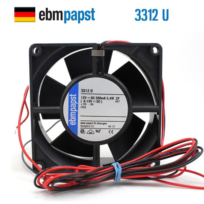 NEW ebmpapst PAPST 3312U 9232 DC 12V 0.2A IP68 waterproof Axial cooling fan