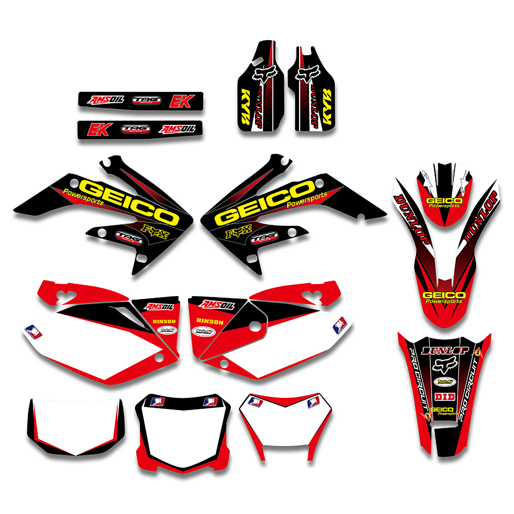 TEAM GRAPHICS BACKGROUNDS DECAL STICKERS For HONDA CRF250X 2004 2005 2006 2007 2008 2009 2010 2011