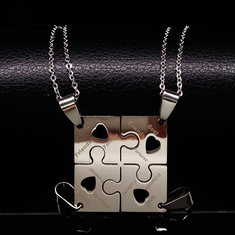 product 4 Pcs Best Friends Pendant Necklace Women Men Jewelry Puzzle Friendship Necklace Jewellery Silver Stainless Steel Neckless N6101