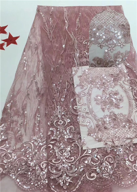 Amazing evening dress material French tulle net lace fabric with sequins for sewing dress  PDN380(5yards/lot)