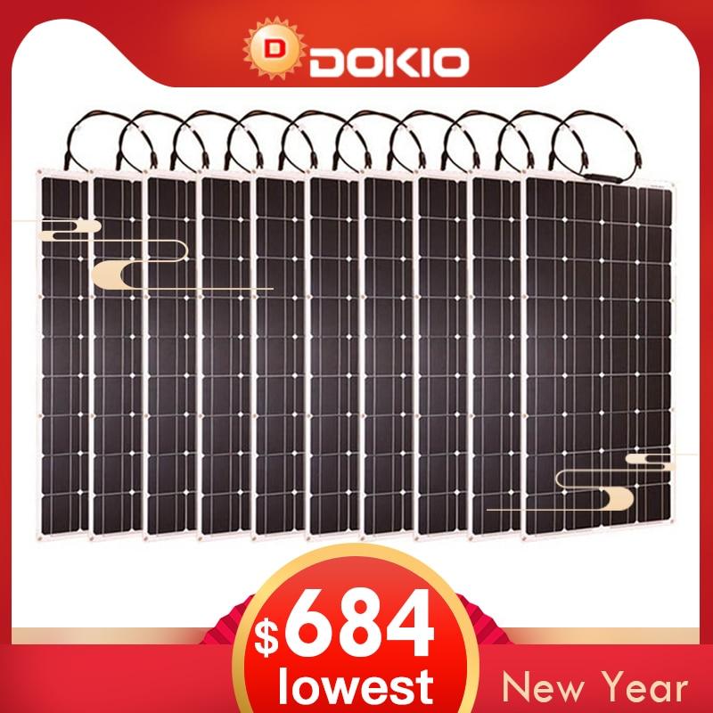Dokio di Marca 10 p Flessibile Pannello Solare 100 W Monocristallino Flessibile Impermeabile Pannello Solare 1000 W Per Camper/Campeggio /barca/Auto