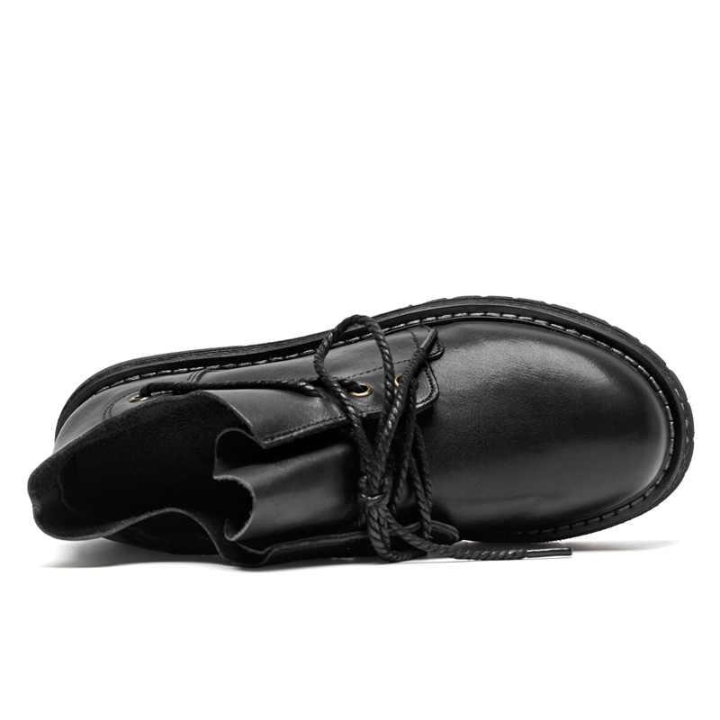 DRKANOL Thu Đông Handmade Da Thật Chính Hãng Da Giày Nữ Mắt Cá Chân Giày Ấm Giày Gót Dày Xe Máy Nữ Giày