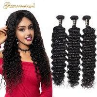 8A Brazilian Deep Wave bundles Virgin Human Hair Weave 1 3 4 Bundles Brazilian Hair Deep Curly Bundles Hair Extension Free Ship