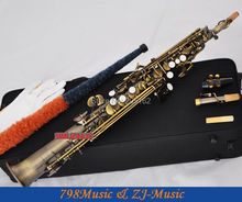 Red Antique Soprano Saxophone Bb key to High F&G key-2 Neckes