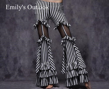 Belly Dance Tribal Fusion Women Cotton Garter Pants Stripe Side Slit Belly Dance Trousers M L Black White Maroon Free Shipping