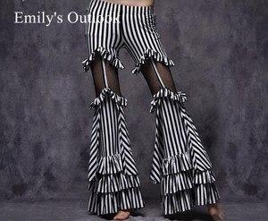 Image 1 - Belly Dance Tribal Fusion Women Cotton Garter Pants Stripe Side Slit Belly Dance Trousers M L Black White Maroon Free Shipping