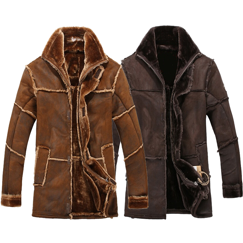 Gaya Rusia fesyen lelaki retro vintaj kulit pengebom jaket suede panjang bulu palsu kot lelaki musim sejuk tebal baldu panas dipenuhi