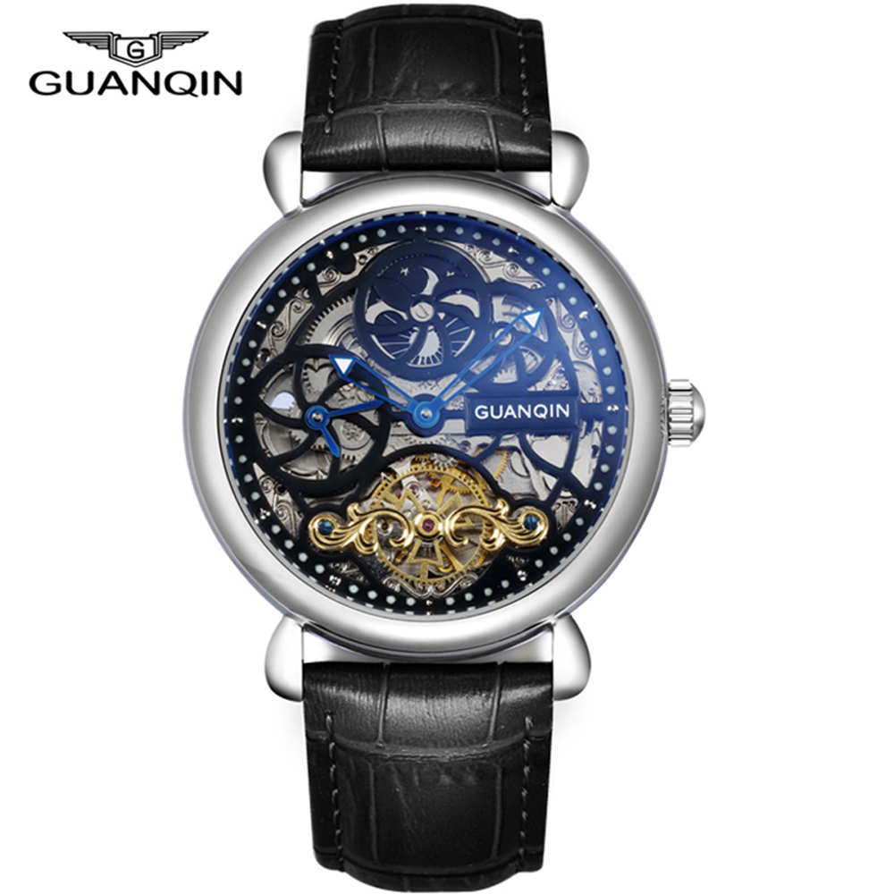 Relogio Masculino 2018 Luxury GUANQIN Tourbillon Skeleton Automatic Mechanical watch waterproof Wristwatch Sapphire Male Clock ik coloring bridge analog display mechanical male clock automatic wristwatch golden bezel skeleton watches relogio masculino