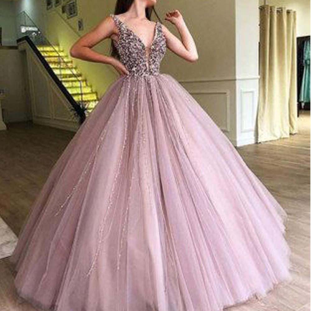 Robes de bal de luxe perles perles de perles de cristal bouffantes col en v profond longueur de plancher bouffante robes de soirée 2019