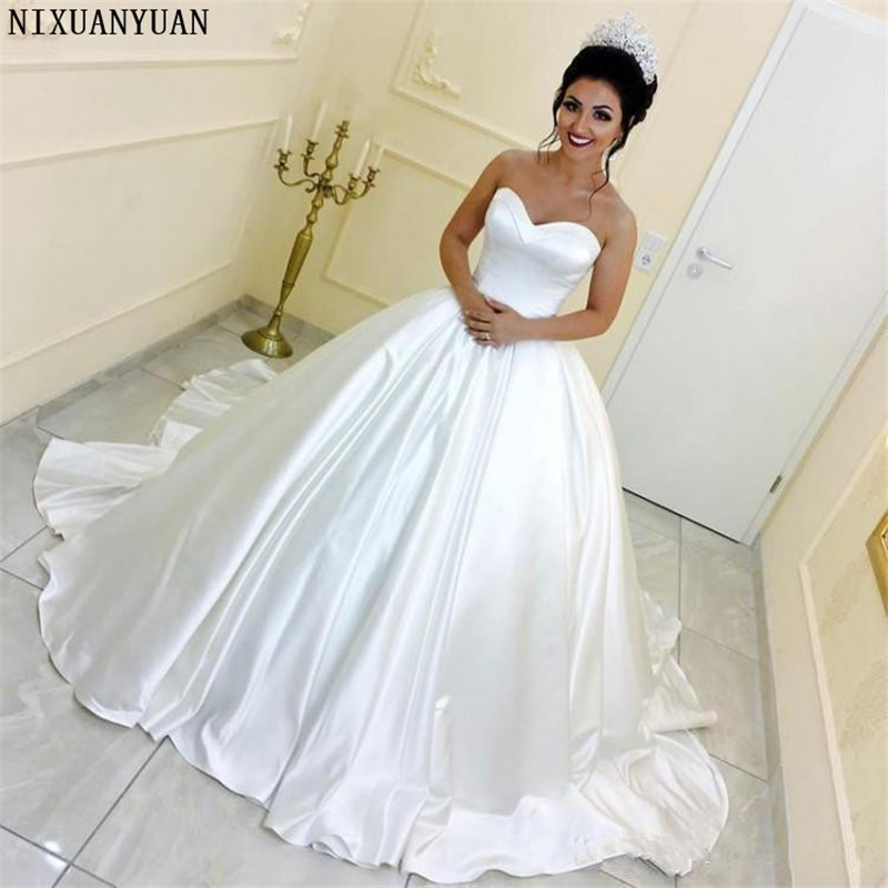 Elegant Satin Ball Gown Wedding Dresses White Sweetheart Chapel Train Bridal Gowns Custom Made Wedding Gowns Lace-up