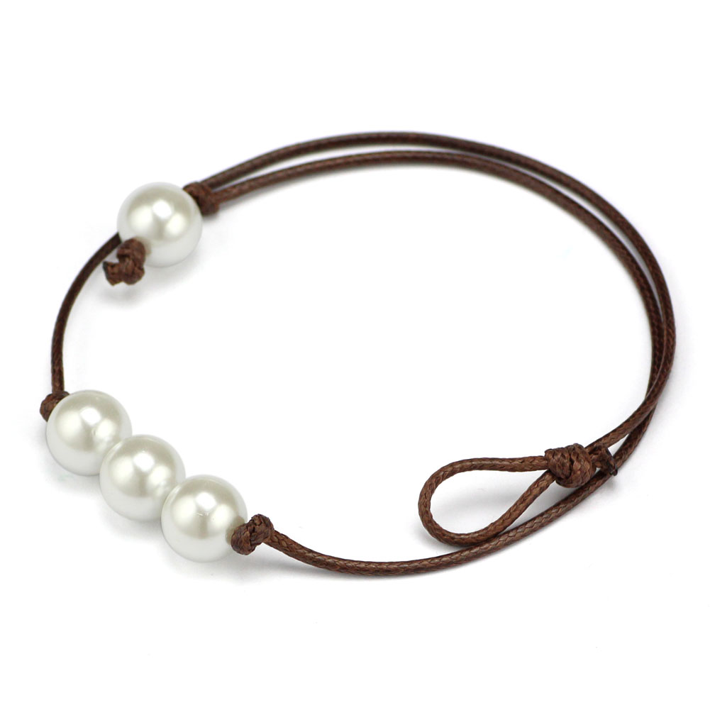 Freshwater Cultured Simulated Leather Single Pearl Necklace For Women(china  (mainland))