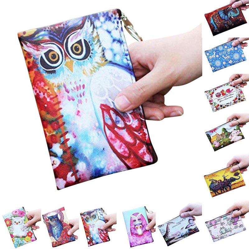 Fashion Women Coin Purse PU Leather Clutch Bag Cartoon Animals Elephant Owl Giraffes Deer Graffiti Lady Girl Wallet BS88