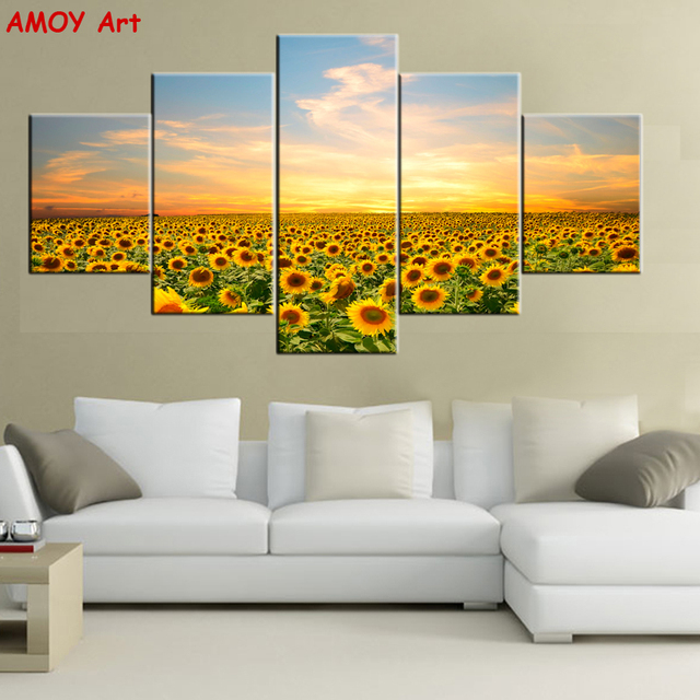 5 Panels Sunflowers Sunset Wall Pictures for Living Room Prints ...