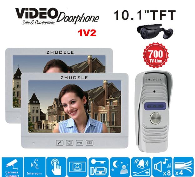 ZHUDELE New Arrival Outdoor Camera 10.1 Display Color Video Door Phone Touch Button Doorbell Intercom IR 700TVL HD Camera 1V2