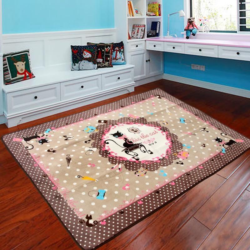 Cute Cartoon Pink Bow Cat Design Carpet Living Room