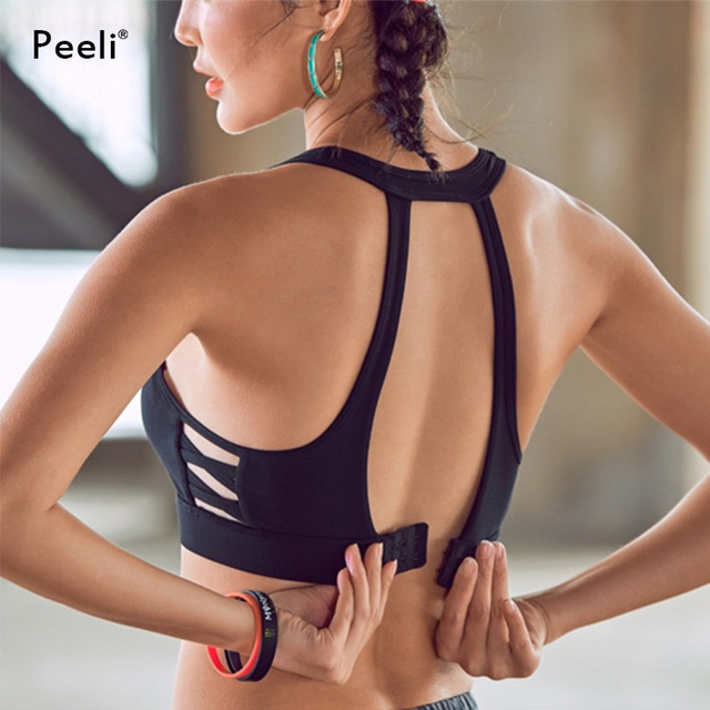 6bfde5895a Peeli High Impact Sports Bra Top Hollow Out Running Padded Yoga Bras  Fitness Gym Crop Tops Soutien Gorge Sport Bh Active Wear