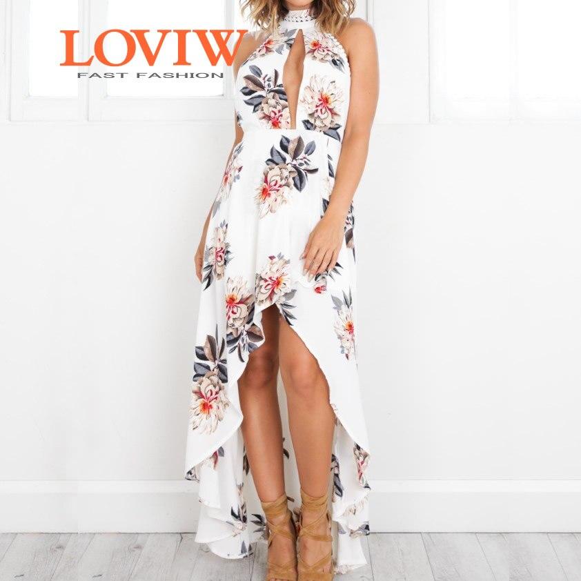Plage Manches Imprimé Bohème Robe Sans Nouvelles De Halter Loviw Mode Floral Maxi Femmes Cou 35A4jLR