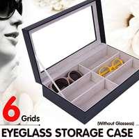 6Grids of Sunglasses Storage Case Black Wood Eyeglass Sunglass Glasses Organizer Storage Display Case