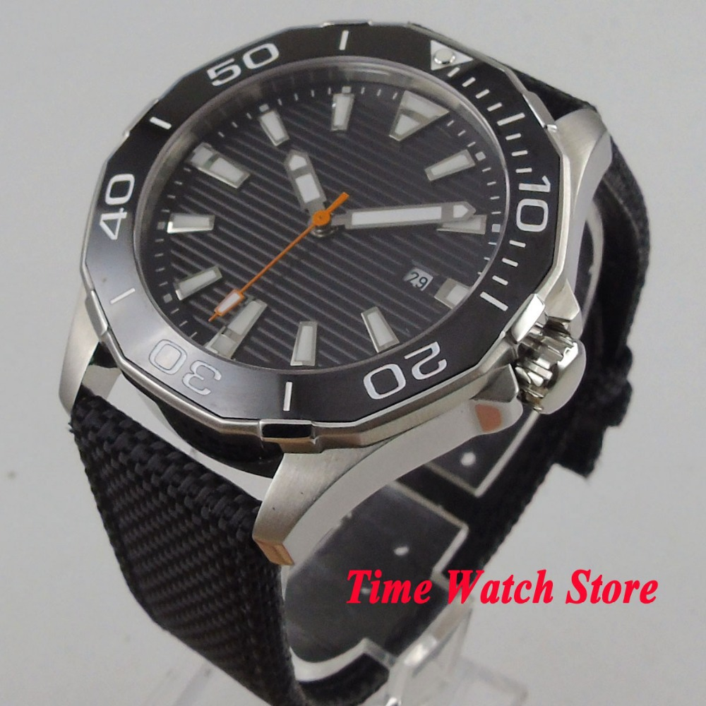 Solid 45mm Polygon men's watch black dial sapphire glass luminous ceramic bezel 5ATM MIYOTA Automatic movement wrist watch PL3 цена