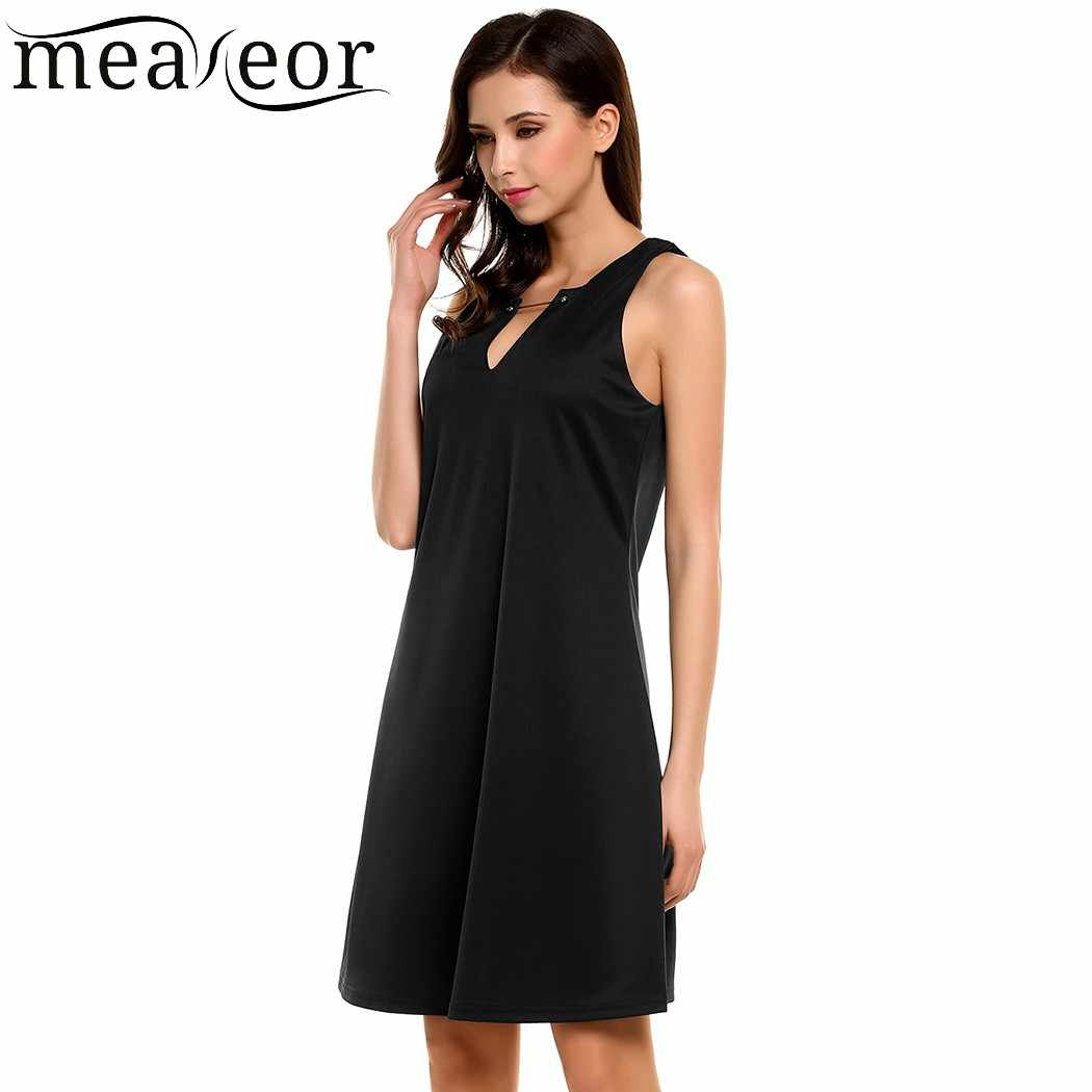 0d0b82ee9e8 ... Meaneor Women Dress Summer Autumn Simple Casual V-Neck Sleeveless Solid  A-Line Pleated ...