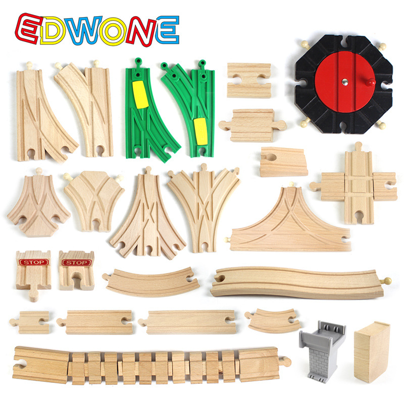 EDWONE New All Kinds Wooden Track Parts Beech Wooden Railway Train Track TOY Accessories Fit Thomas Biro Wooden Tracks(China)