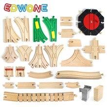 EDWONE Новые все виды деревянных дорожек части бука деревянная железная дорога железнодорожные пути игрушки аксессуары подходят Томас Биро деревянные дорожки