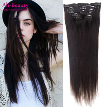 Ali Beauty Natural Human Hair Extensions Clip In Straight Brazilian Virgin Hair Clips Aplique Tic Tac Cabelo Humano 1B Tic Tac