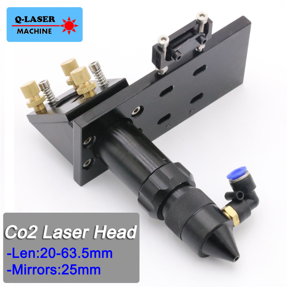 CO2 Laser Cutting Head for Focus Lens Dia.20 FL.63.5mm & Mirror 25mm Mount co2 laser head mirror and lens integrative mount laser cutting engraving