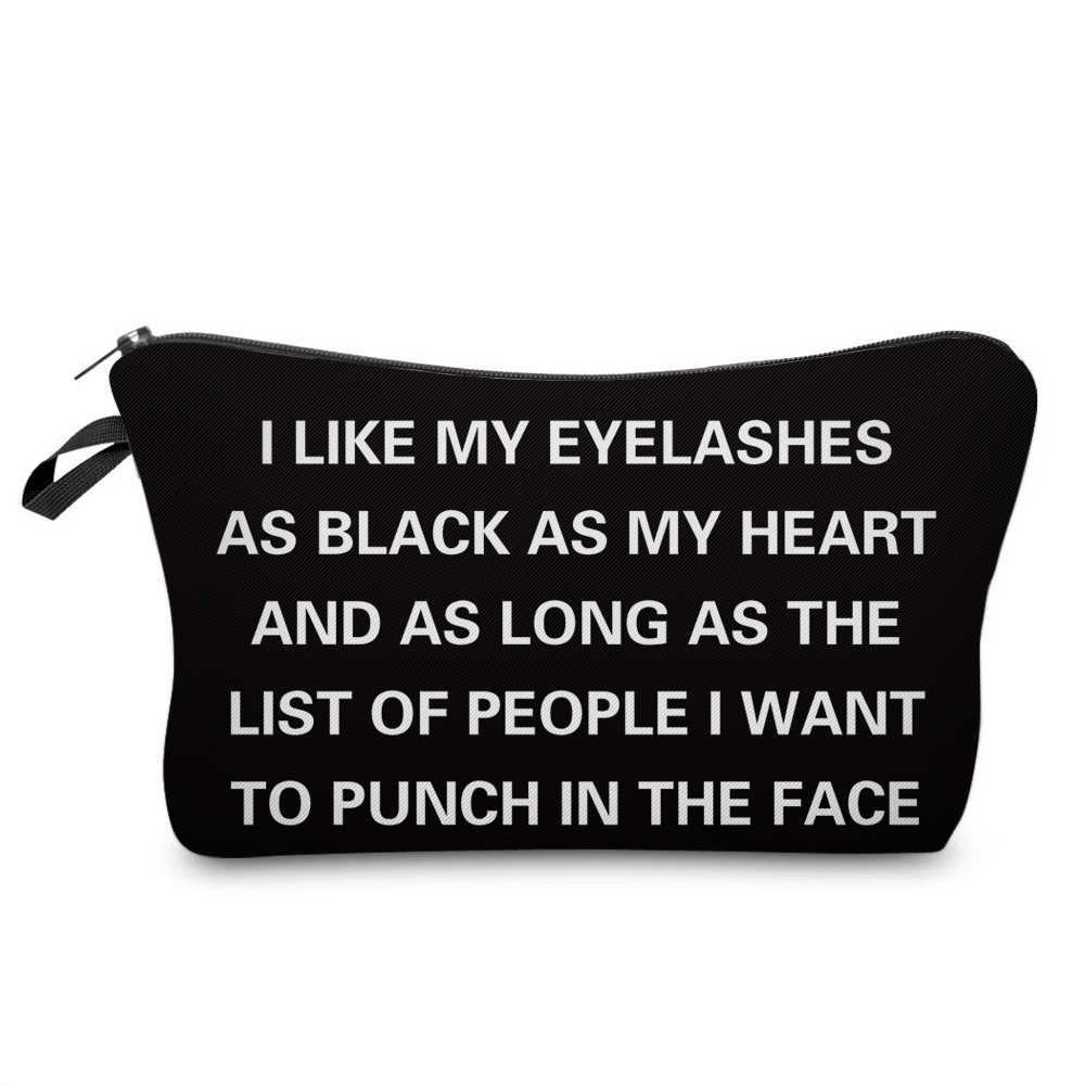 """I Like My Eyelashes"" Printed Makeup Bag Organizer 1"