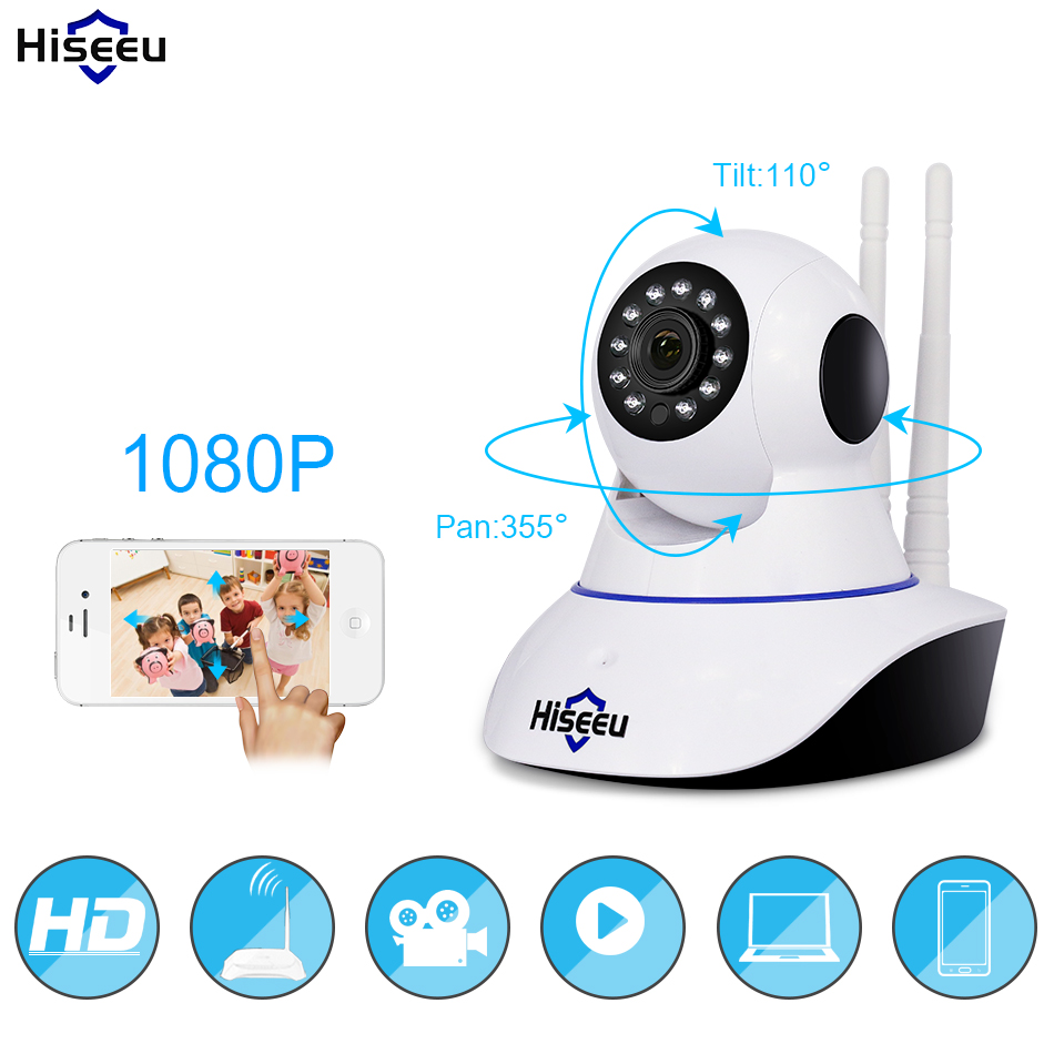 Hiseeu Home Security 720 P 1080 P Wifi IP Kamera Audio Record SD Karte Speicher P2P HD CCTV Surveillance Wireless kamera Baby Monitor