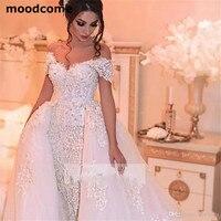 Luxury Arabic Wedding Dresses With Detachable Skirt Appliques Beaded Pearls Dubai Wedding Dress Plus Size Bridal