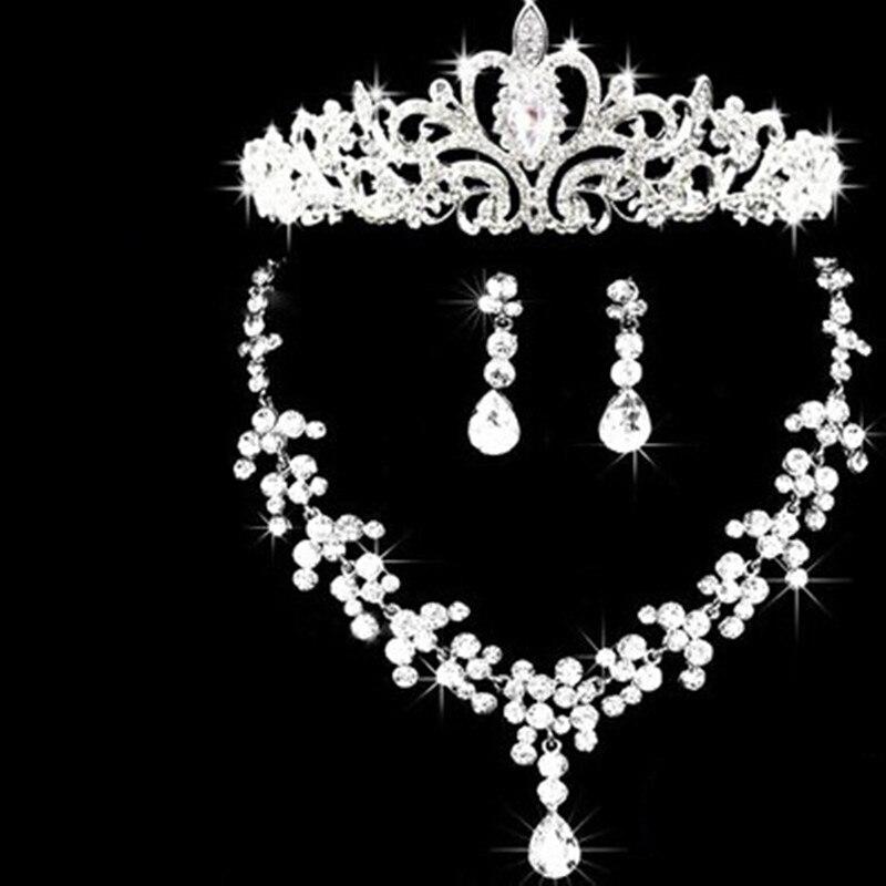 2016 Wedding Silver Plated Stylish Rhinestone Jewelry Sets Austrian Crystal Water Drop Necklace Earrings Crown Set