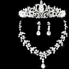 2016 Wedding Silver Plated Stylish Rhinestone Jewelry Sets Austrian Crystal Water Drop Necklace Earrings Crown Set Bride Jewelry