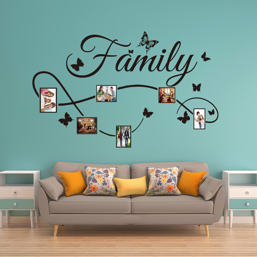 Large Family Photo Frame Wall Sticker Bedroom Living Room Family Butterflies Photo Wall Decal Sofa Dinning Room Children Vinyl Wall Stickers Aliexpress