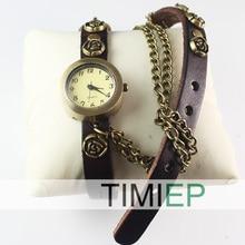 New Style Girl's Clock Ladies's Wrist Watches Classic Design brown freeship