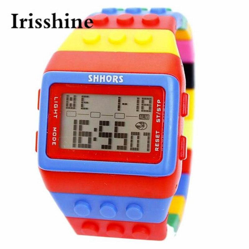 Irisshine i0568 brand luxury New Fashion Colorful boy girl LED Silicone Band Digital Watch Cildren student