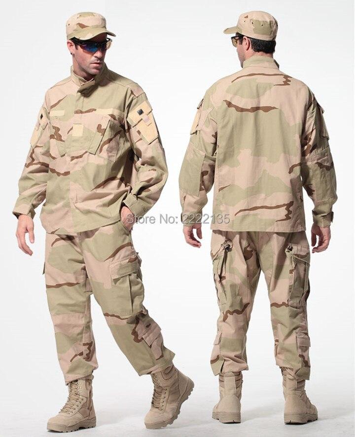 766feac3338 Tática de Camuflagem Militar Do Exército DOS EUA Desert Camo BDU Uniforme  de Combate Airsoft Set Homens Roupas de Caça Ao Ar Livre ternos S-XXXL