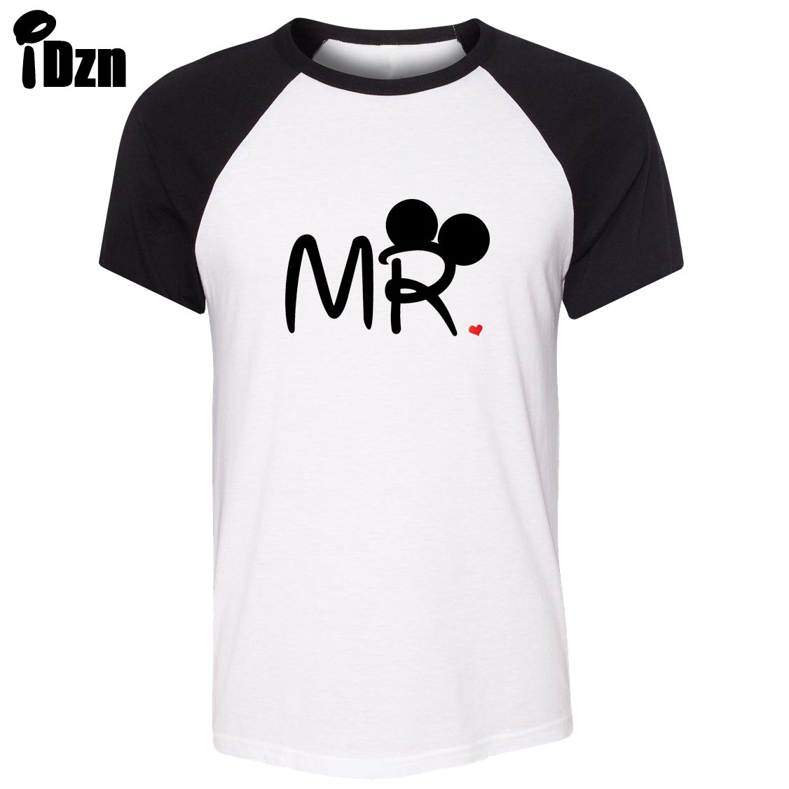 Design t shirt couple - Idzn Unisex Summer T Shirt Mouse Mr Mrs Mate Soul Loves Kiss Art Pattern Design Raglan Short Sleeve T Shirt Couple Tee Tops